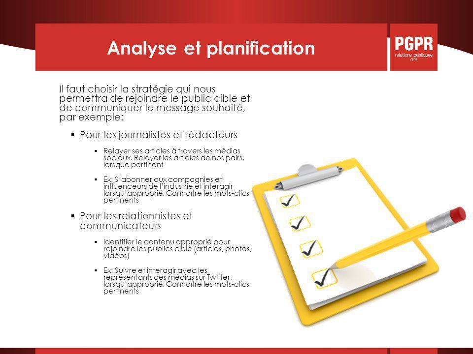 Analyse et planification Il faut choisir la stratégie qui nous permettra de rejoindre le public cible et de communiquer le message souhaité, par exemple:  Pour les journalistes et rédacteurs  Relayer ses articles à travers les médias sociaux.