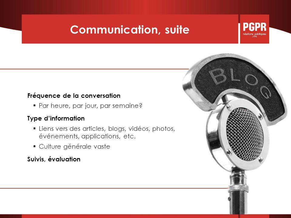 Communication, suite Fréquence de la conversation  Par heure, par jour, par semaine.