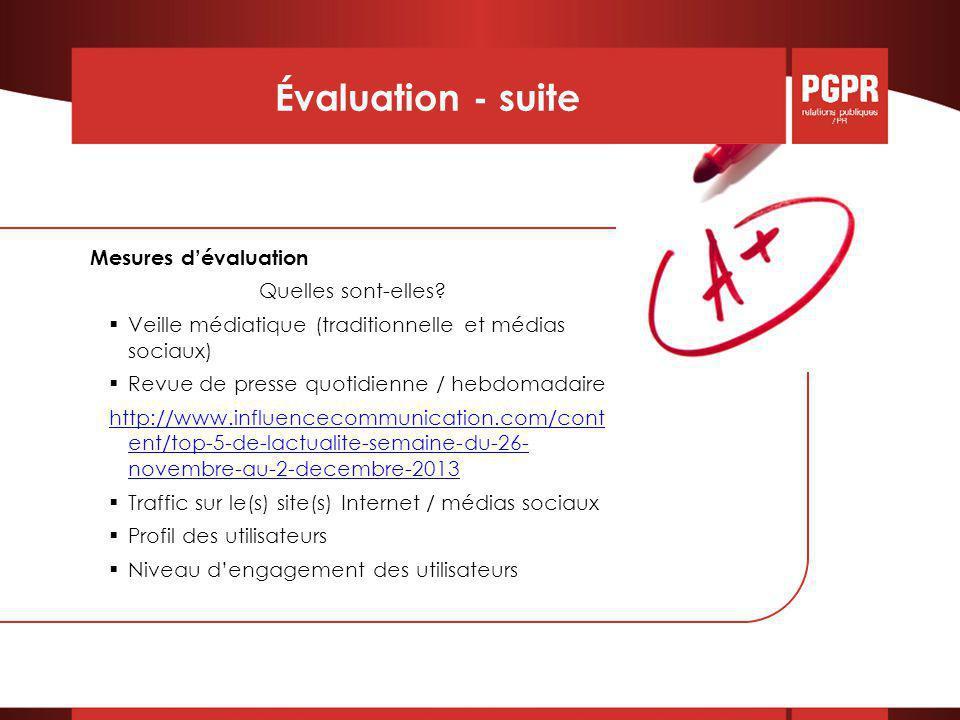 Évaluation - suite Mesures d'évaluation Quelles sont-elles.