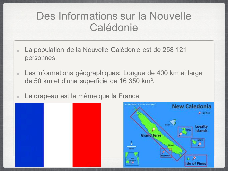 Des Informations sur la Nouvelle Calédonie La population de la Nouvelle Calédonie est de 258 121 personnes.