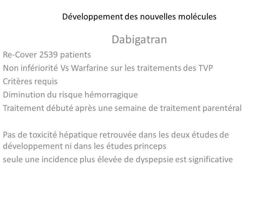 Développement des nouvelles molécules Dabigatran Re-Cover 2539 patients Non infériorité Vs Warfarine sur les traitements des TVP Critères requis Dimin