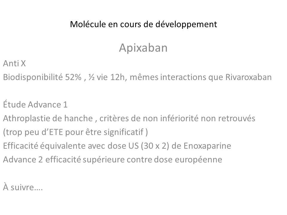 Molécule en cours de développement Apixaban Anti X Biodisponibilité 52%, ½ vie 12h, mêmes interactions que Rivaroxaban Étude Advance 1 Athroplastie de