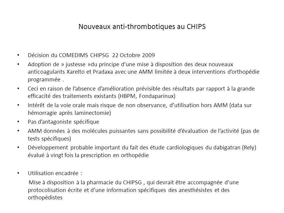Nouveaux anti-thrombotiques au CHIPS Décision du COMEDIMS CHIPSG 22 Octobre 2009 Adoption de » justesse »du principe d'une mise à disposition des deux