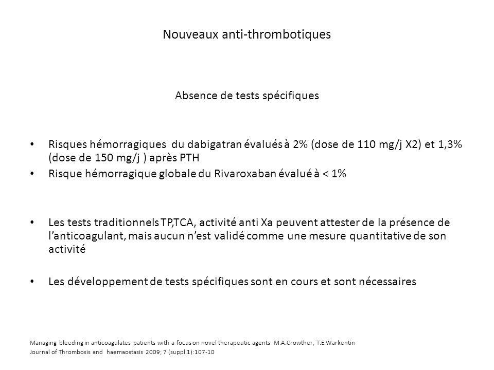 Nouveaux anti-thrombotiques Absence de tests spécifiques Risques hémorragiques du dabigatran évalués à 2% (dose de 110 mg/j X2) et 1,3% (dose de 150 m