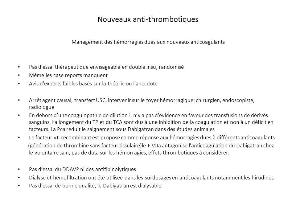 Nouveaux anti-thrombotiques Management des hémorragies dues aux nouveaux anticoagulants Pas d'essai thérapeutique envisageable en double insu, randomi