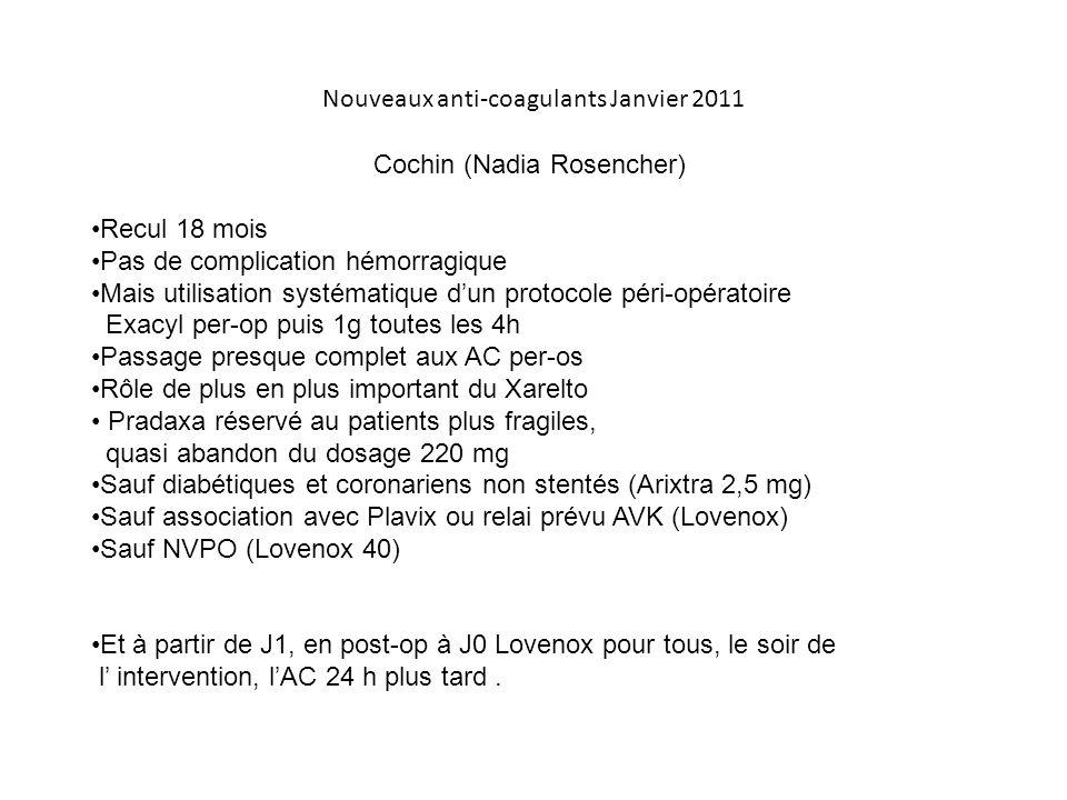 Nouveaux anti-coagulants Janvier 2011 Cochin (Nadia Rosencher) Recul 18 mois Pas de complication hémorragique Mais utilisation systématique d'un proto