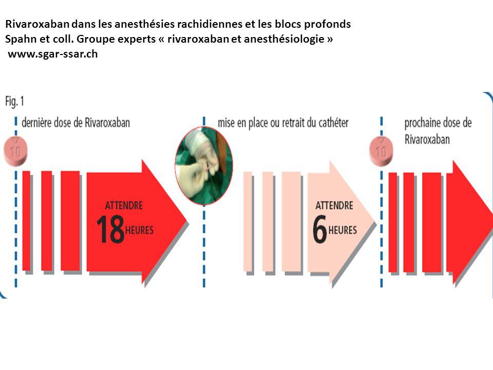 Rivaroxaban dans les anesthésies rachidiennes et les blocs profonds Spahn et coll. Groupe experts « rivaroxaban et anesthésiologie » www.sgar-ssar.ch