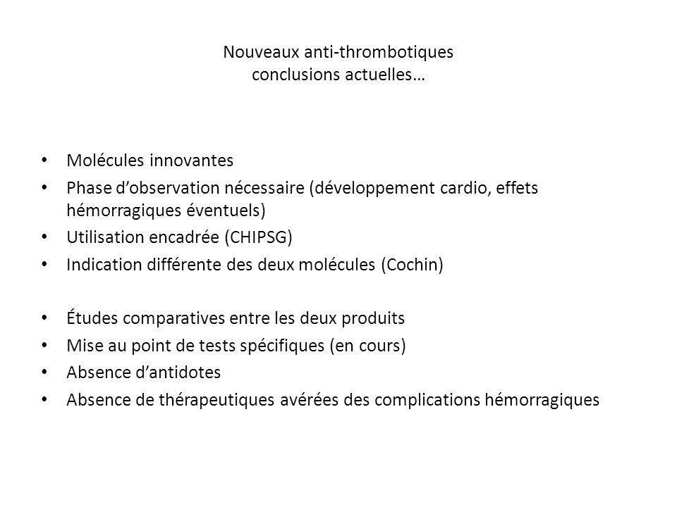 Nouveaux anti-thrombotiques conclusions actuelles… Molécules innovantes Phase d'observation nécessaire (développement cardio, effets hémorragiques éve