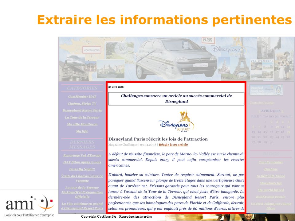 Copyright Go Albert SA – Reproduction interdite Extraire les informations pertinentes