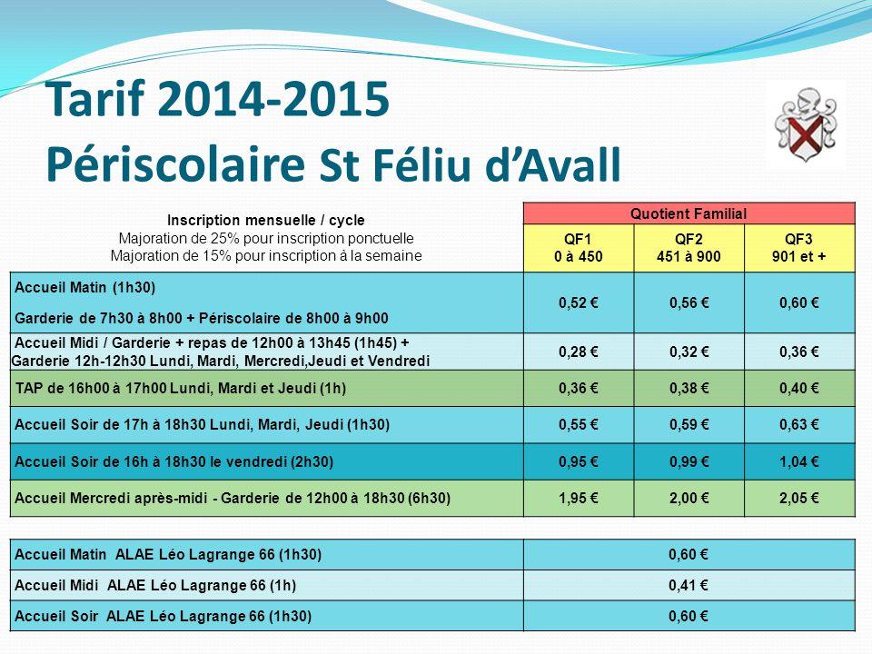 Tarif 2014-2015 Périscolaire St Féliu d'Avall Inscription mensuelle / cycle Majoration de 25% pour inscription ponctuelle Majoration de 15% pour inscription à la semaine Quotient Familial QF1 0 à 450 QF2 451 à 900 QF3 901 et + Accueil Matin (1h30) 0,52 €0,56 €0,60 € Garderie de 7h30 à 8h00 + Périscolaire de 8h00 à 9h00 Accueil Midi / Garderie + repas de 12h00 à 13h45 (1h45) + Garderie 12h-12h30 Lundi, Mardi, Mercredi,Jeudi et Vendredi 0,28 €0,32 €0,36 € TAP de 16h00 à 17h00 Lundi, Mardi et Jeudi (1h)0,36 €0,38 €0,40 € Accueil Soir de 17h à 18h30 Lundi, Mardi, Jeudi (1h30)0,55 €0,59 €0,63 € Accueil Soir de 16h à 18h30 le vendredi (2h30)0,95 €0,99 €1,04 € Accueil Mercredi après-midi - Garderie de 12h00 à 18h30 (6h30)1,95 €2,00 €2,05 € Accueil Matin ALAE Léo Lagrange 66 (1h30)0,60 € Accueil Midi ALAE Léo Lagrange 66 (1h)0,41 € Accueil Soir ALAE Léo Lagrange 66 (1h30)0,60 €