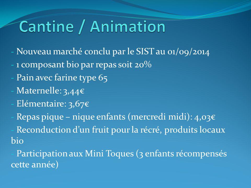 - Nouveau marché conclu par le SIST au 01/09/2014 - 1 composant bio par repas soit 20% - Pain avec farine type 65 - Maternelle: 3,44€ - Elémentaire: 3