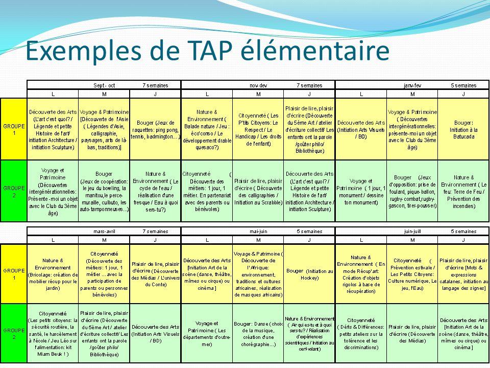 Exemples de TAP élémentaire