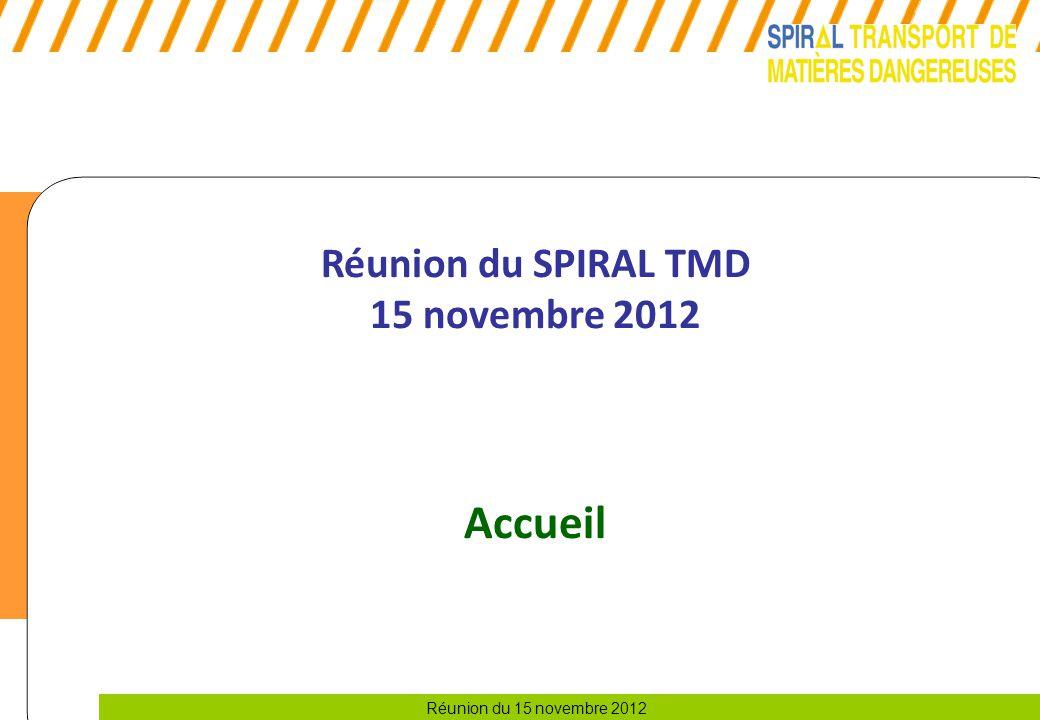 Réunion du 15 novembre 2012 Réunion du SPIRAL TMD 15 novembre 2012 Accueil