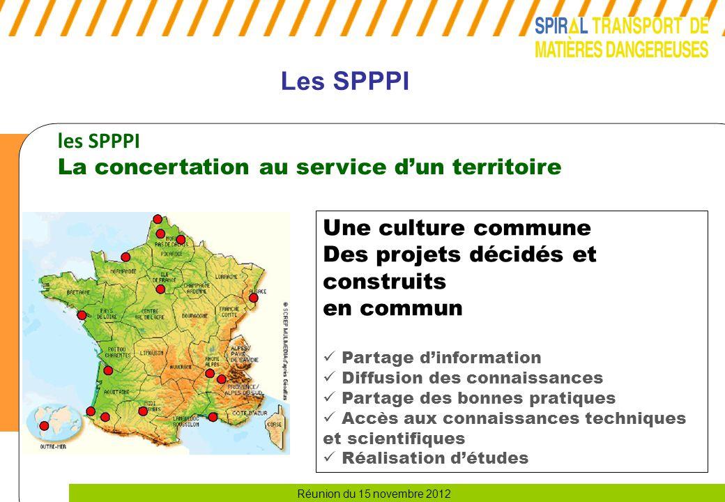 Réunion du 15 novembre 2012 Les SPPPI les SPPPI La concertation au service d'un territoire Une culture commune Des projets décidés et construits en co