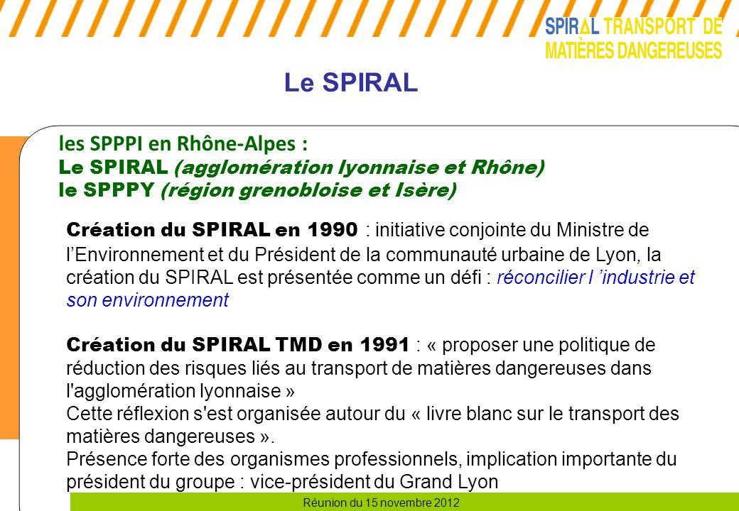 Réunion du 15 novembre 2012 Le SPIRAL les SPPPI en Rhône-Alpes : Le SPIRAL (agglomération lyonnaise et Rhône) le SPPPY (région grenobloise et Isère) Création du SPIRAL en 1990 : initiative conjointe du Ministre de l'Environnement et du Président de la communauté urbaine de Lyon, la création du SPIRAL est présentée comme un défi : réconcilier l 'industrie et son environnement Création du SPIRAL TMD en 1991 : « proposer une politique de réduction des risques liés au transport de matières dangereuses dans l agglomération lyonnaise » Cette réflexion s est organisée autour du « livre blanc sur le transport des matières dangereuses ».