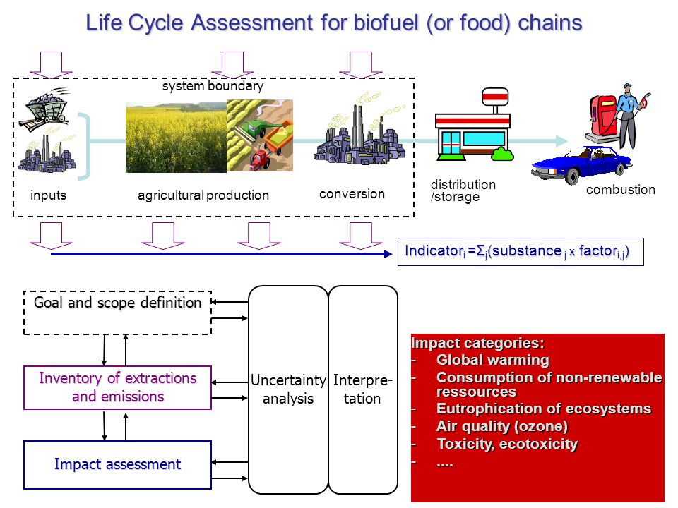 Life Cycle Assessment for biofuel (or food) chains Goal and scope definition Inventory of extractions and emissions Impact assessment Uncertainty anal
