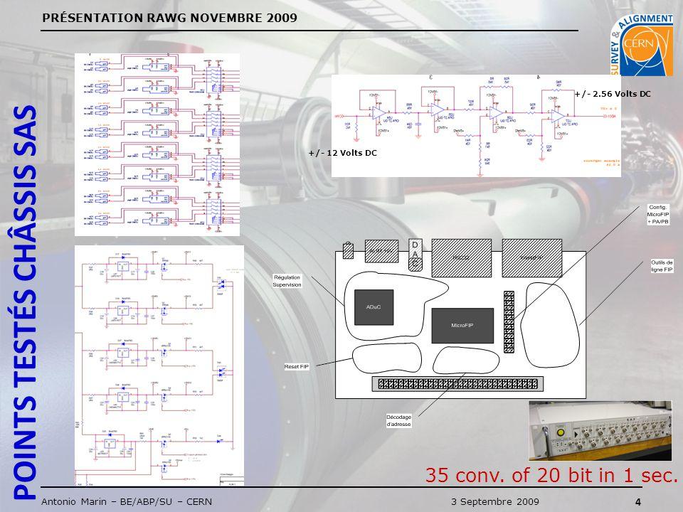 PRÉSENTATION RAWG NOVEMBRE 2009 4 Antonio Marin – BE/ABP/SU – CERN3 Septembre 2009 +/- 12 Volts DC +/- 2.56 Volts DC 35 conv.