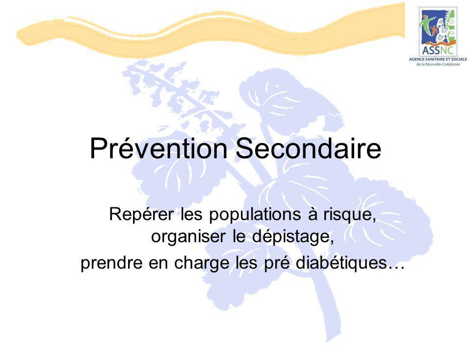Prévention Secondaire Repérer les populations à risque, organiser le dépistage, prendre en charge les pré diabétiques…