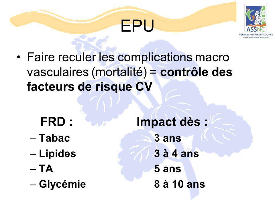EPU Faire reculer les complications macro vasculaires (mortalité) = contrôle des facteurs de risque CV FRD : Impact dès : –Tabac3 ans –Lipides3 à 4 an