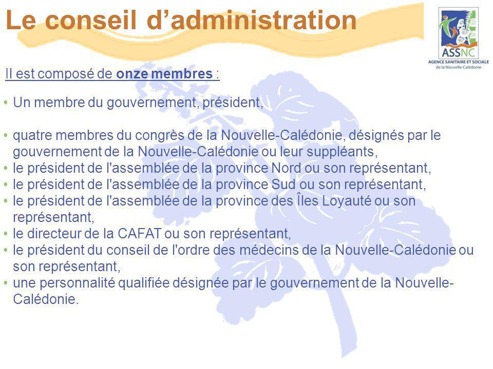 Le conseil d'administration Il est composé de onze membres : Un membre du gouvernement, président, quatre membres du congrès de la Nouvelle-Calédonie,