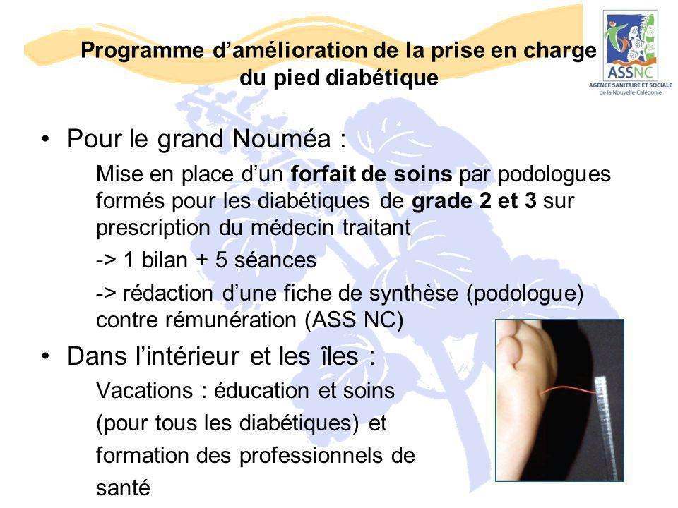 Programme d'amélioration de la prise en charge du pied diabétique Pour le grand Nouméa : Mise en place d'un forfait de soins par podologues formés pou