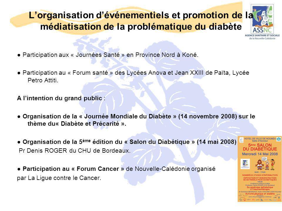 L'organisation d'événementiels et promotion de la médiatisation de la problématique du diabète ● Participation aux « Journées Santé » en Province Nord