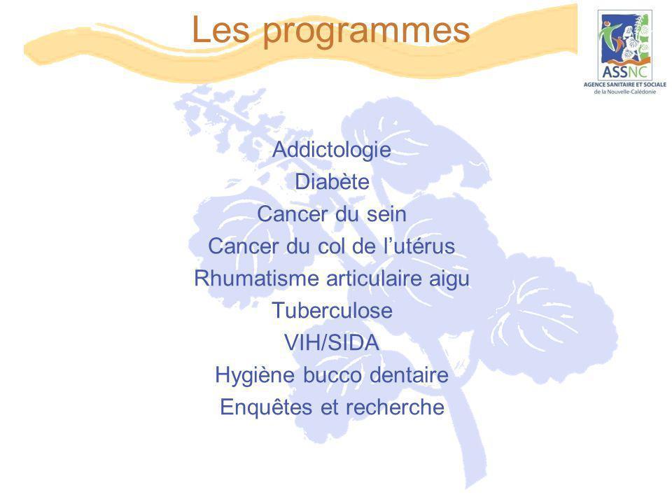 Les programmes Addictologie Diabète Cancer du sein Cancer du col de l'utérus Rhumatisme articulaire aigu Tuberculose VIH/SIDA Hygiène bucco dentaire E