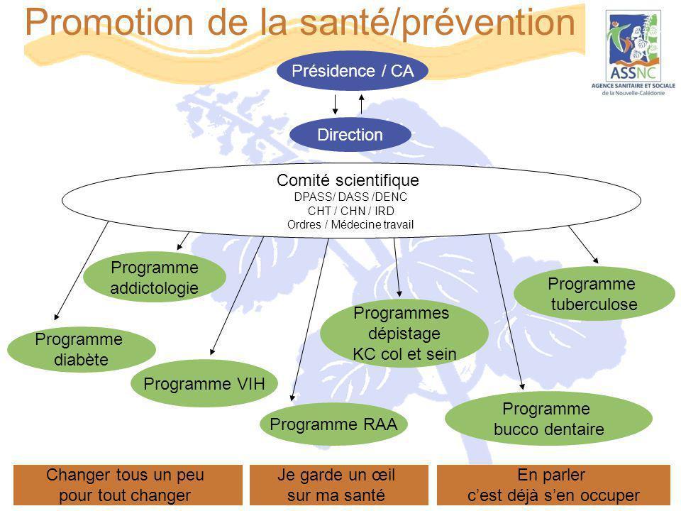 Promotion de la santé/prévention Programme addictologie Programmes dépistage KC col et sein Programme tuberculose Présidence / CA Direction Programme