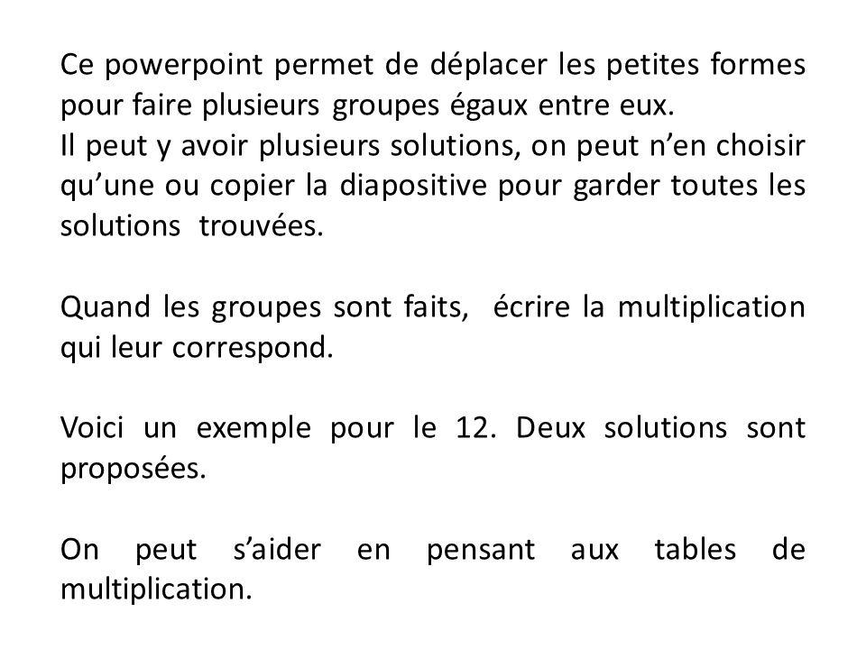 Ce powerpoint permet de déplacer les petites formes pour faire plusieurs groupes égaux entre eux. Il peut y avoir plusieurs solutions, on peut n'en ch