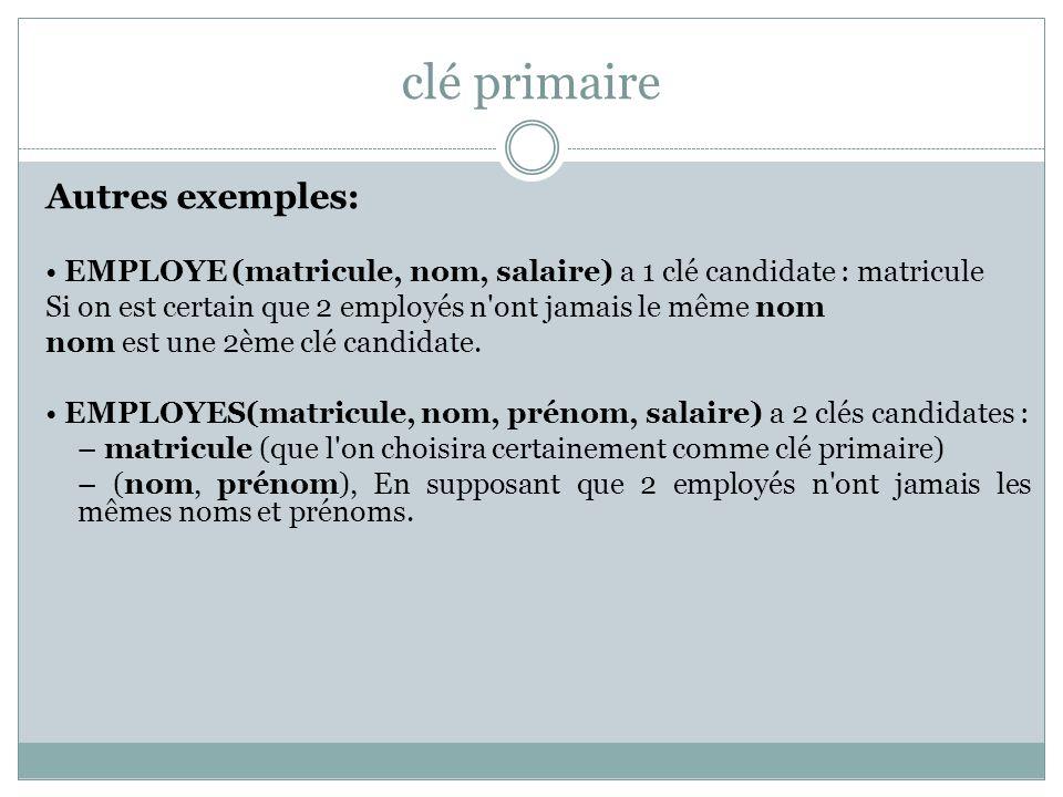 clé primaire Autres exemples: EMPLOYE (matricule, nom, salaire) a 1 clé candidate : matricule Si on est certain que 2 employés n'ont jamais le même no