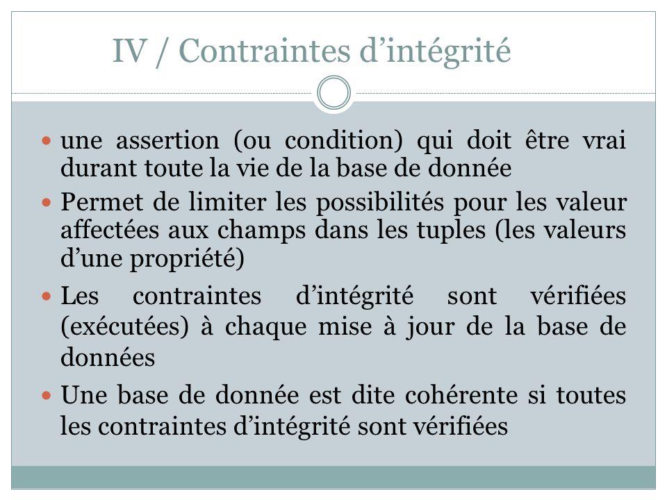 IV / Contraintes d'intégrité une assertion (ou condition) qui doit être vrai durant toute la vie de la base de donnée Permet de limiter les possibilit