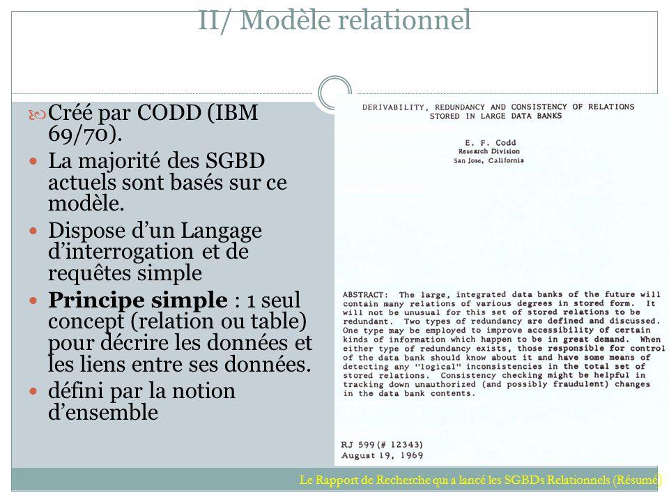 II/ Modèle relationnel Créé par CODD (IBM 69/70). La majorité des SGBD actuels sont basés sur ce modèle. Dispose d'un Langage d'interrogation et de re
