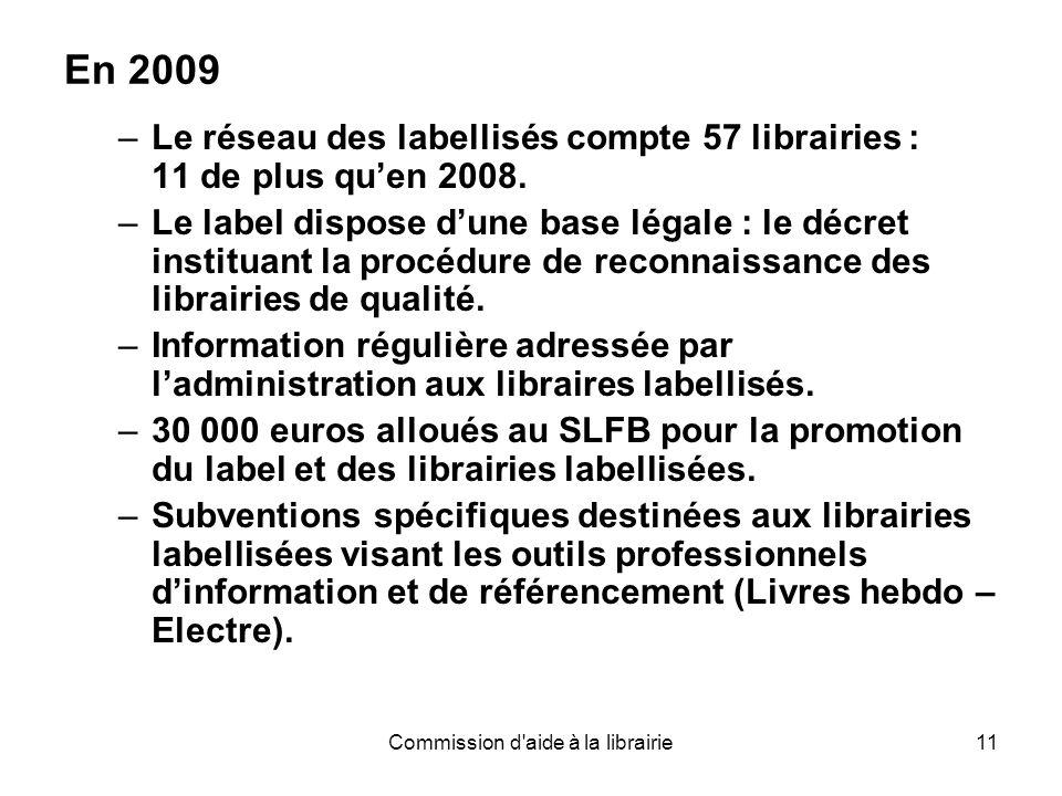 Commission d aide à la librairie11 En 2009 –Le réseau des labellisés compte 57 librairies : 11 de plus qu'en 2008.