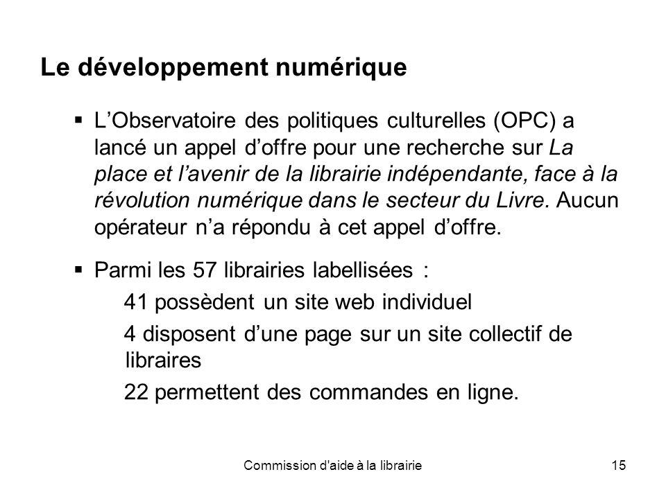 Commission d aide à la librairie15 Le développement numérique  L'Observatoire des politiques culturelles (OPC) a lancé un appel d'offre pour une recherche sur La place et l'avenir de la librairie indépendante, face à la révolution numérique dans le secteur du Livre.