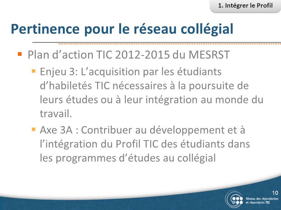 Pertinence pour le réseau collégial  Plan d'action TIC 2012-2015 du MESRST  Enjeu 3: L'acquisition par les étudiants d'habiletés TIC nécessaires à l