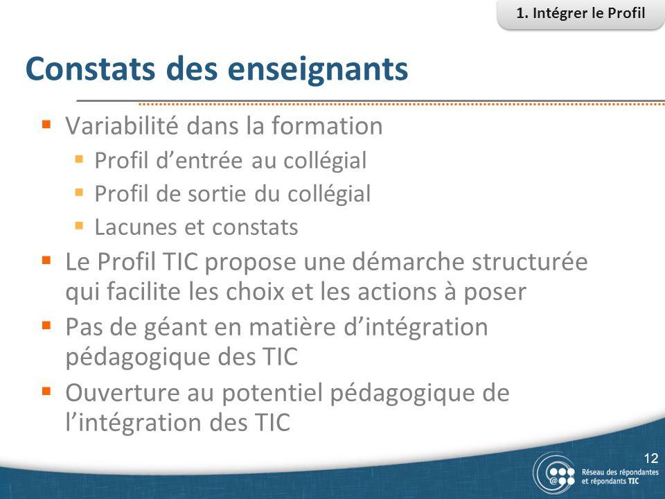 Constats des enseignants  Variabilité dans la formation  Profil d'entrée au collégial  Profil de sortie du collégial  Lacunes et constats  Le Pro