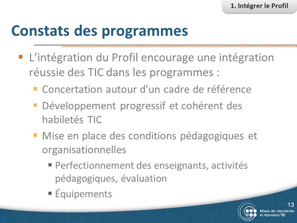 Constats des programmes  L'intégration du Profil encourage une intégration réussie des TIC dans les programmes :  Concertation autour d'un cadre de