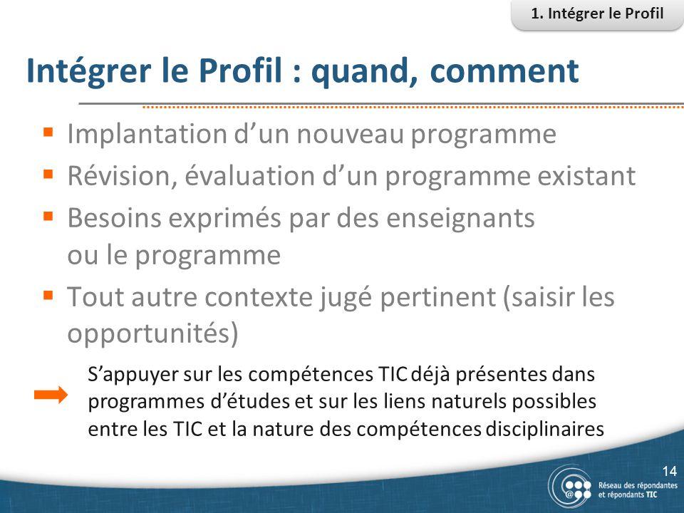 Intégrer le Profil : quand, comment  Implantation d'un nouveau programme  Révision, évaluation d'un programme existant  Besoins exprimés par des en