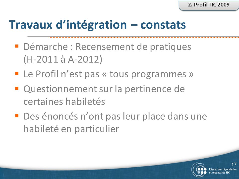 Travaux d'intégration – constats  Démarche : Recensement de pratiques (H-2011 à A-2012)  Le Profil n'est pas « tous programmes »  Questionnement su