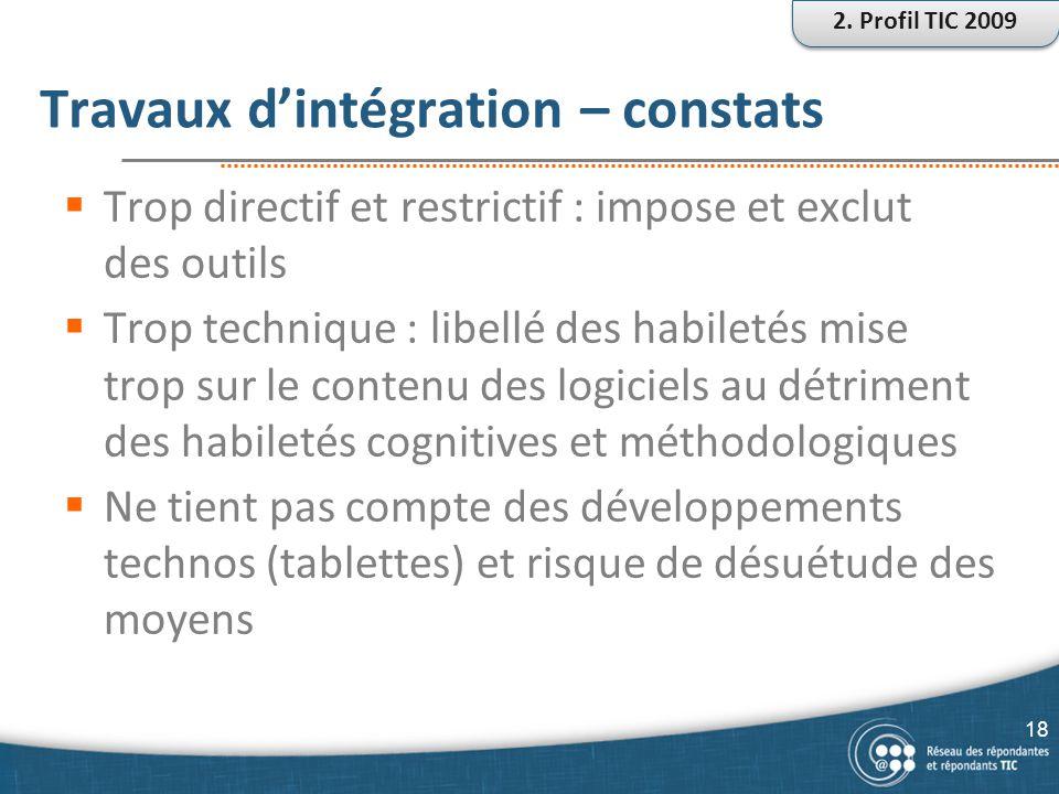 Travaux d'intégration – constats  Trop directif et restrictif : impose et exclut des outils  Trop technique : libellé des habiletés mise trop sur le