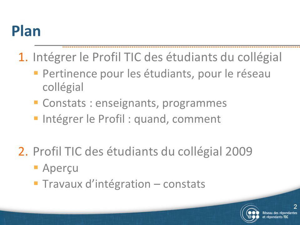 Plan 1.Intégrer le Profil TIC des étudiants du collégial  Pertinence pour les étudiants, pour le réseau collégial  Constats : enseignants, programme