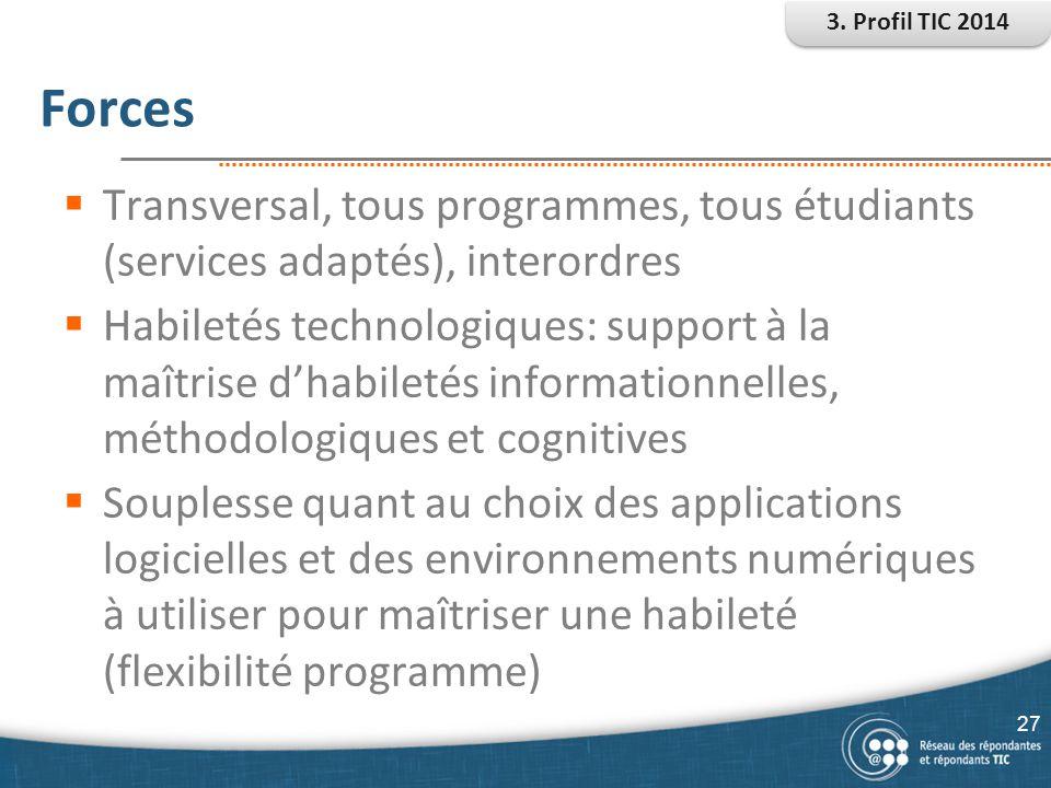 Forces  Transversal, tous programmes, tous étudiants (services adaptés), interordres  Habiletés technologiques: support à la maîtrise d'habiletés in