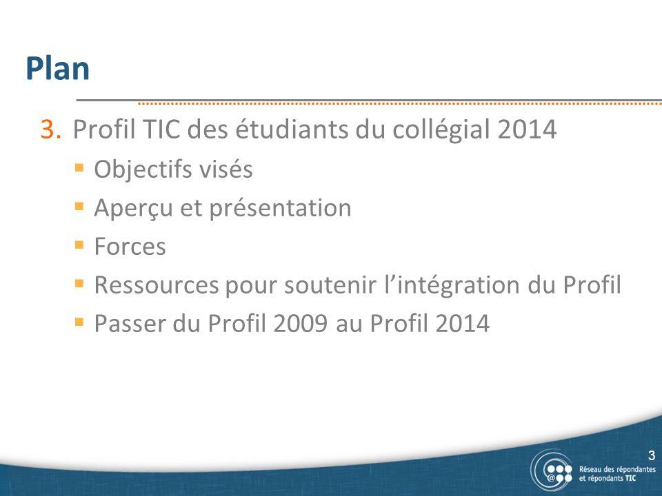 Plan 3.Profil TIC des étudiants du collégial 2014  Objectifs visés  Aperçu et présentation  Forces  Ressources pour soutenir l'intégration du Prof