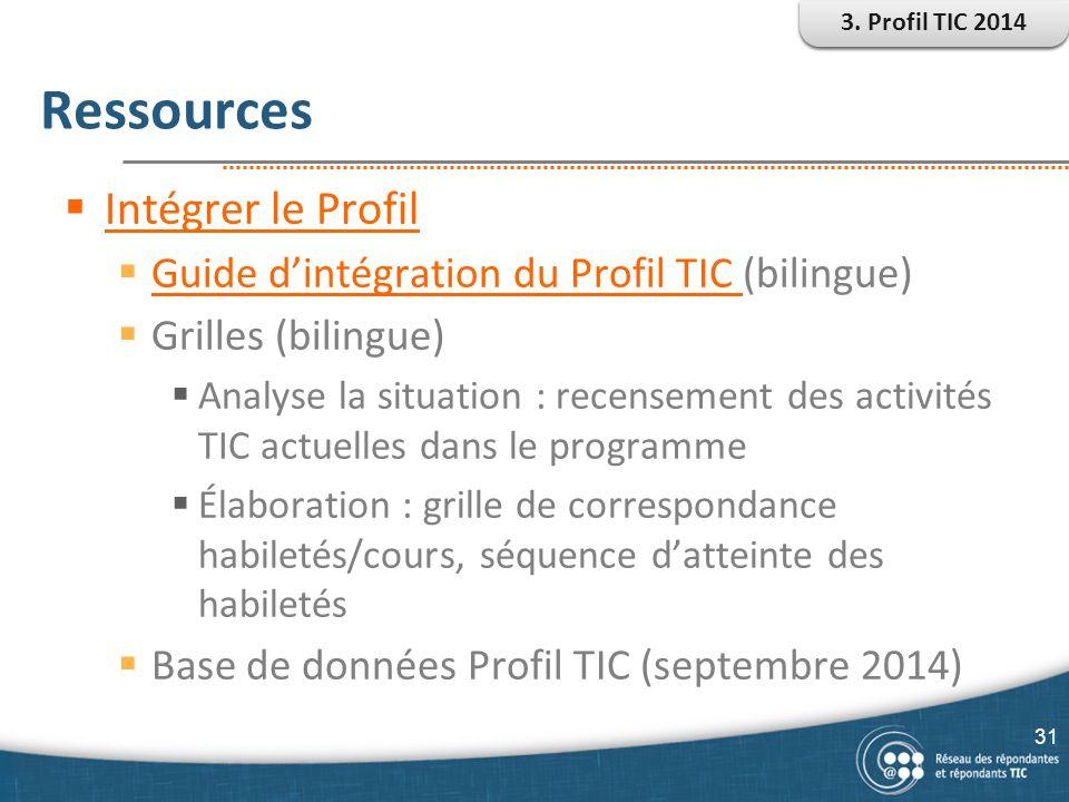 Ressources  Intégrer le Profil Intégrer le Profil  Guide d'intégration du Profil TIC (bilingue) Guide d'intégration du Profil TIC  Grilles (bilingu