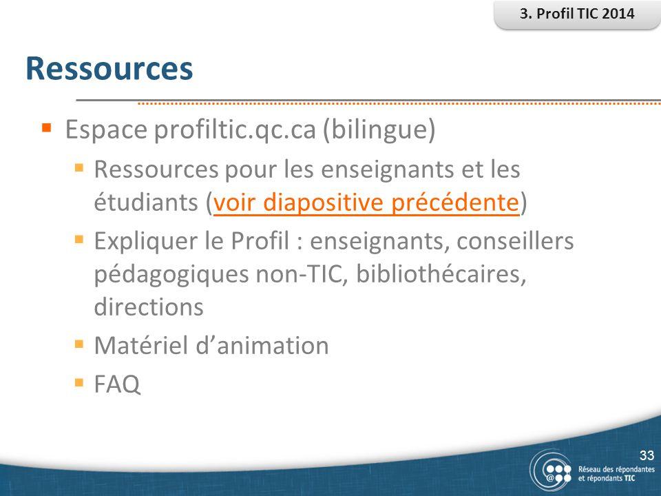 Ressources  Espace profiltic.qc.ca (bilingue)  Ressources pour les enseignants et les étudiants (voir diapositive précédente)voir diapositive précéd