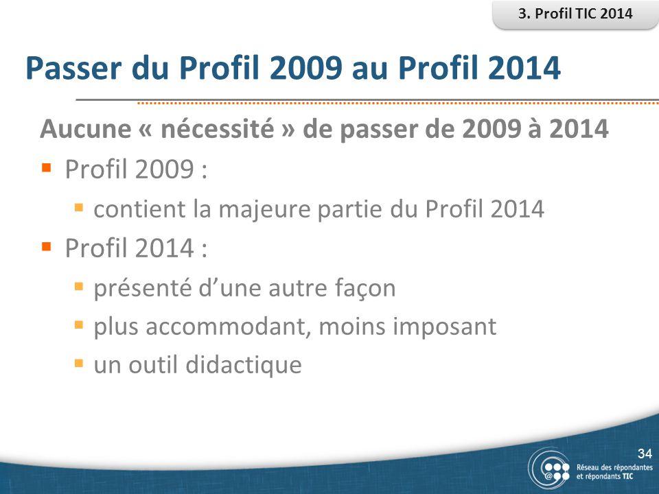Passer du Profil 2009 au Profil 2014 34 Aucune « nécessité » de passer de 2009 à 2014  Profil 2009 :  contient la majeure partie du Profil 2014  Pr