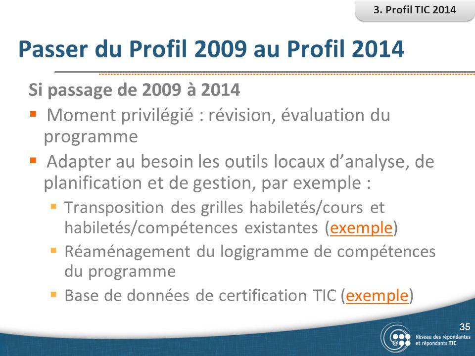 Passer du Profil 2009 au Profil 2014 35 Si passage de 2009 à 2014  Moment privilégié : révision, évaluation du programme  Adapter au besoin les outi