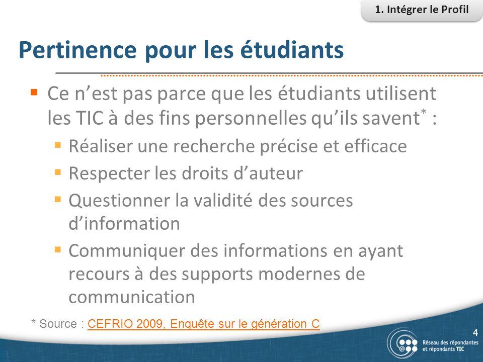 Pertinence pour les étudiants  Ce n'est pas parce que les étudiants utilisent les TIC à des fins personnelles qu'ils savent * :  Réaliser une recher