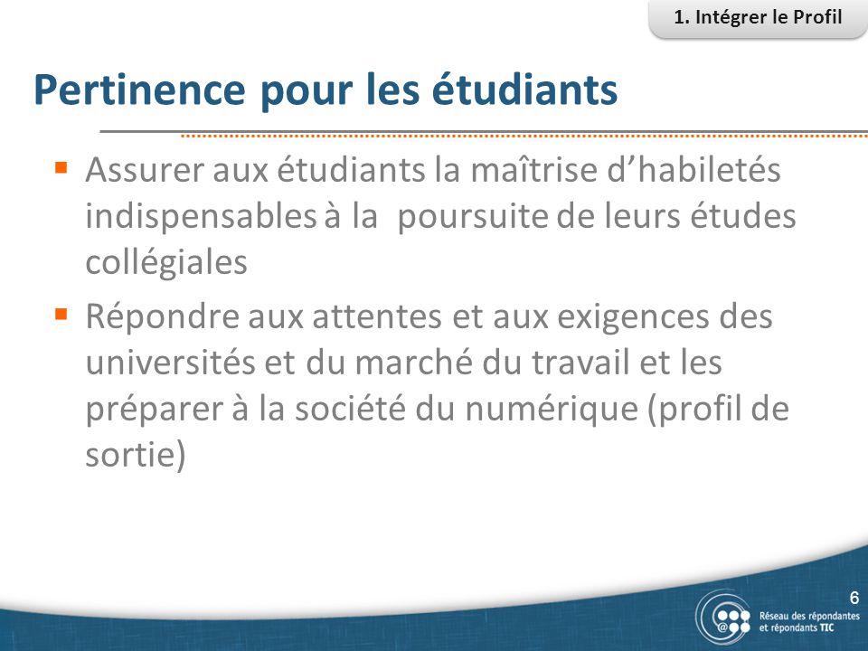 Pertinence pour les étudiants  Assurer aux étudiants la maîtrise d'habiletés indispensables à la poursuite de leurs études collégiales  Répondre aux