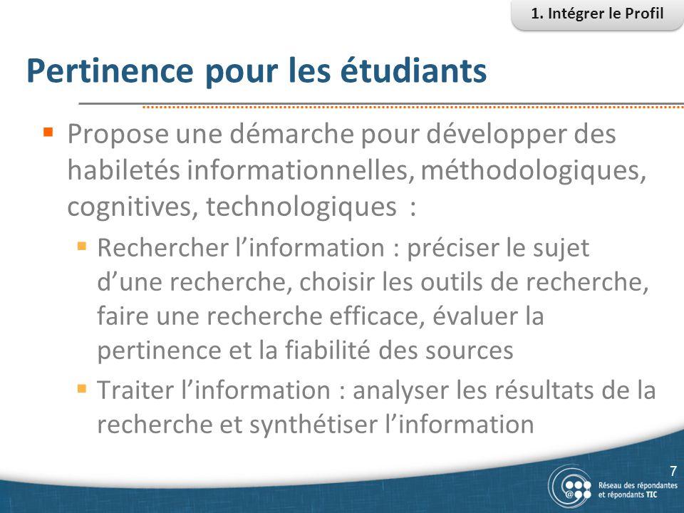 Pertinence pour les étudiants  Propose une démarche pour développer des habiletés informationnelles, méthodologiques, cognitives, technologiques : 